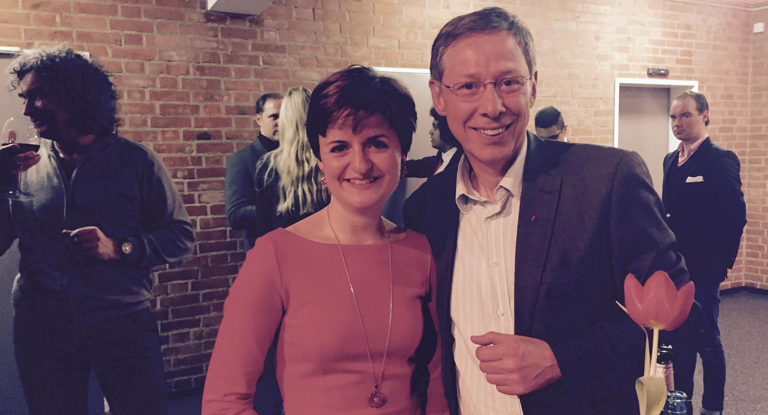 Stephanie Dehne und Bürgermeister Carsten Sieling beim SPD-Jahresauftakt im Januar 2016