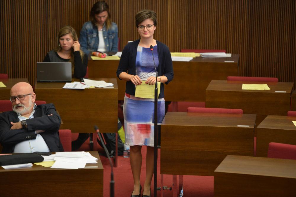 Stephanie Dehne im Plenarsaal der Bremischen Bürgerschaft an einem Saalmikrofon stehend
